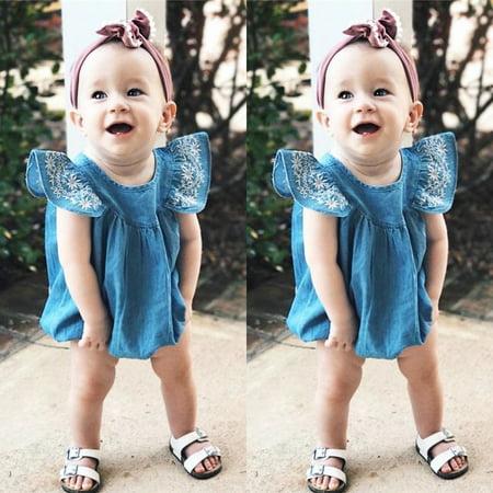 - Toddler Kids Baby Girls Infant Clothes Denim Rompers Jumpsuit Outfit Sunsuit Set