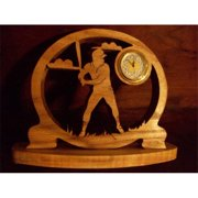 Fine Crafts 1622SPO Baseball player wooden mini desk clock