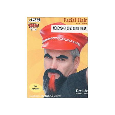 Mustache Black/red Goatee Devil Set](Devil Mustache)