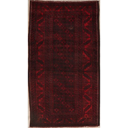BLACK FRIDAY DEAL All-Over Geometric Red & Navy Blue Balouch Afghan Oriental Area Rug 4x7