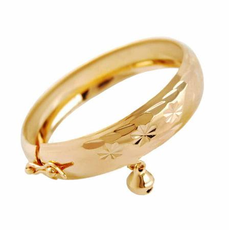 Children Jewelry Heart Gold Plated Bracelet Bell Baby Kids Bangle