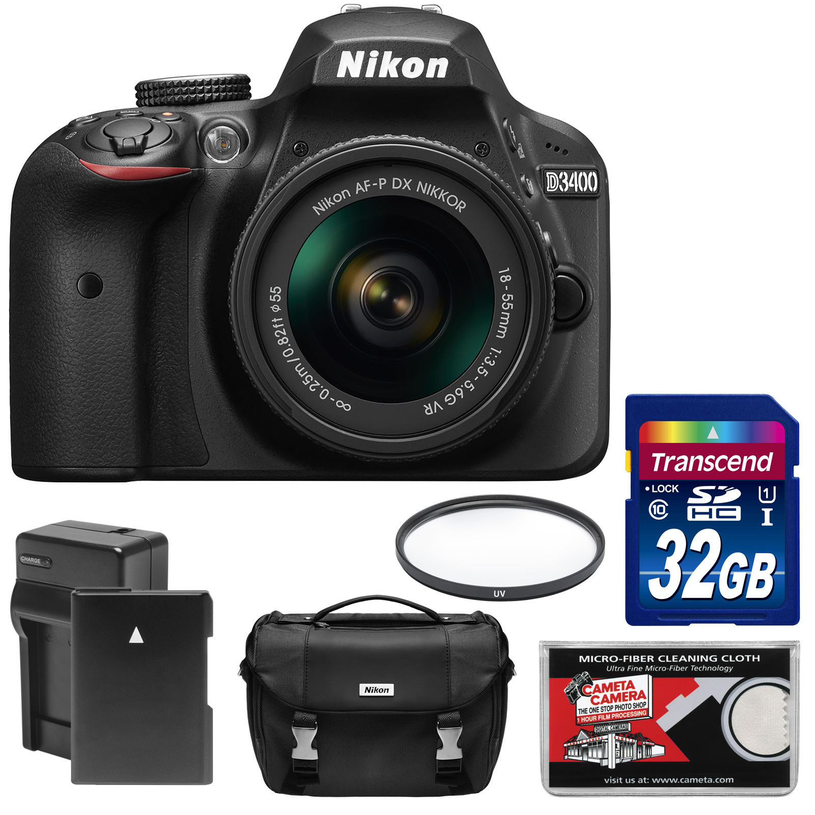 Nikon D3400 Digital SLR Camera & 18-55mm VR DX AF-P Zoom Lens (Black) - Refurbished with 32GB Card + Battery & Charger + Case + Kit