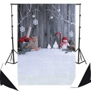 GreenDecor Polyster 5x7ft White Winter Snow Photographic Background Photo Backdrops Christmas Snowman Tree Wooden Wall Newborn Children Photo Studio Photocall Backdrop for Photography