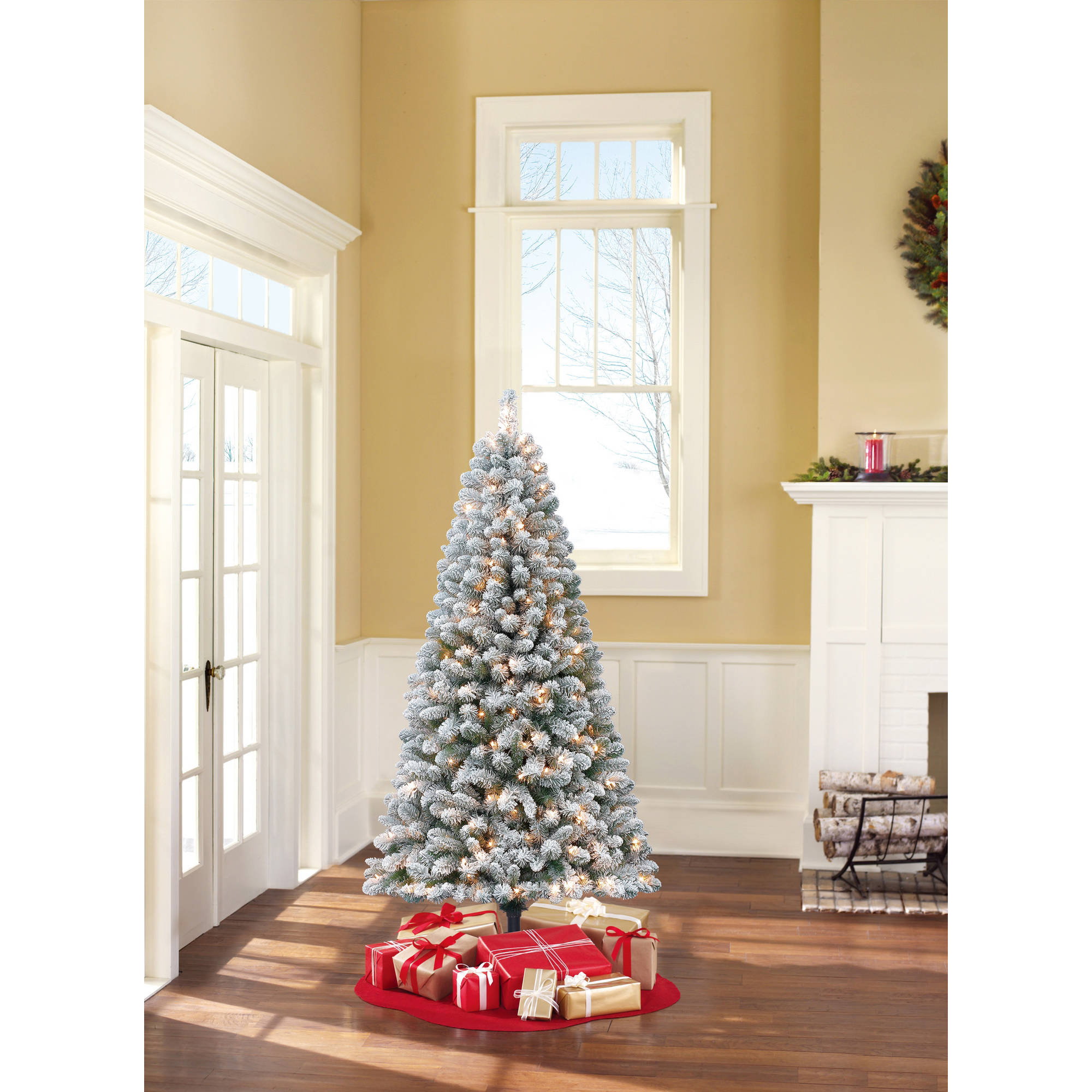 Holiday Time Pre-Lit 6.5' Crystal Pine Artificial Christmas Tree, Clear Lights