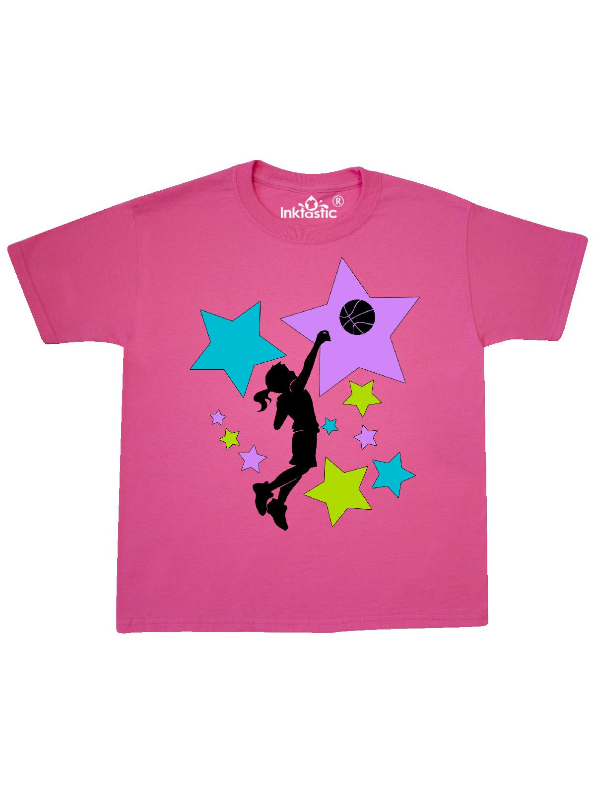 Girl Playing Basketball purple, blue, green stars Youth T-Shirt