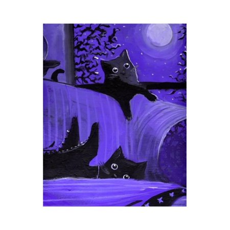 Purple Halloween Black Cats Witch Feet Print Wall Art By sylvia pimental - Halloween Cat Clip Art