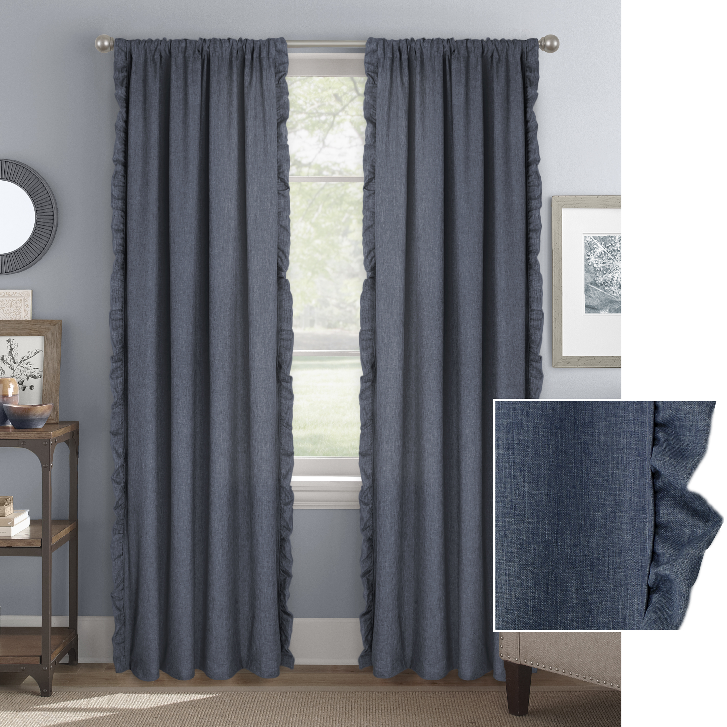 Better Homes & Gardens Vertical Ruffle Window Curtain Panel