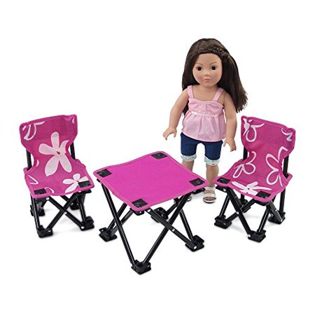 18 Inch Doll Accessories | Awesome Pink and White Flowered Armless Camping Sports Chairs and Table Set, includes Matching Carry / Storage Case | Fits American Girl Dolls - image 4 de 4