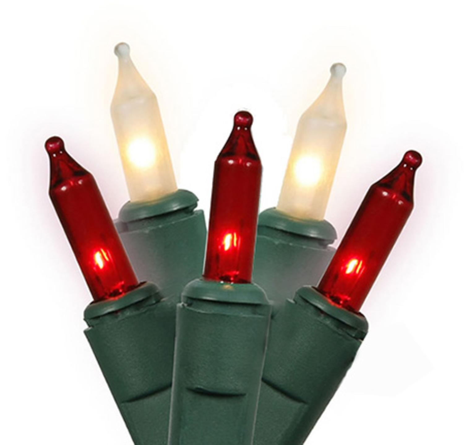 Set of 100 Red and Clear Frosted Everglow Mini Christmas Lights - Green Wire