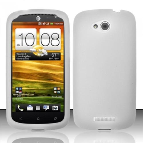 Insten White Silicone Soft Skin Cover Case For HTC One VX