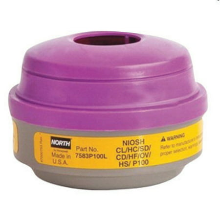 North by Honeywell Acid Gas/Chlorine/Chlorine Dioxide/Formaldehyde/Hydrogen Chloride/Hydrogen Fluoride/Organic Vapors/Particulate/Sulfur Dioxide P100 APR Cartridge For 5500, 7700, 5400 And 7600 Ser