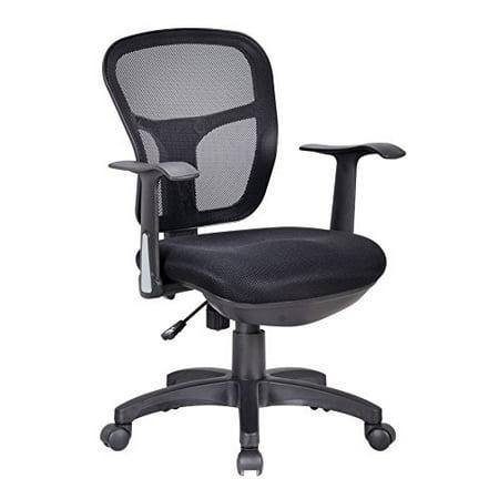 Office Factor Ergonomic Black Mesh Desk Chair Lumbar Support Extra Cushion on the Seat Fixed Arms Swivel Tilt Mechanism (OF-137)