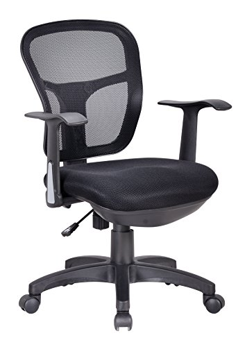 Office Factor Ergonomic Black Mesh Desk Chair Lumbar Support Extra Cushion  On The Seat Fixed Arms