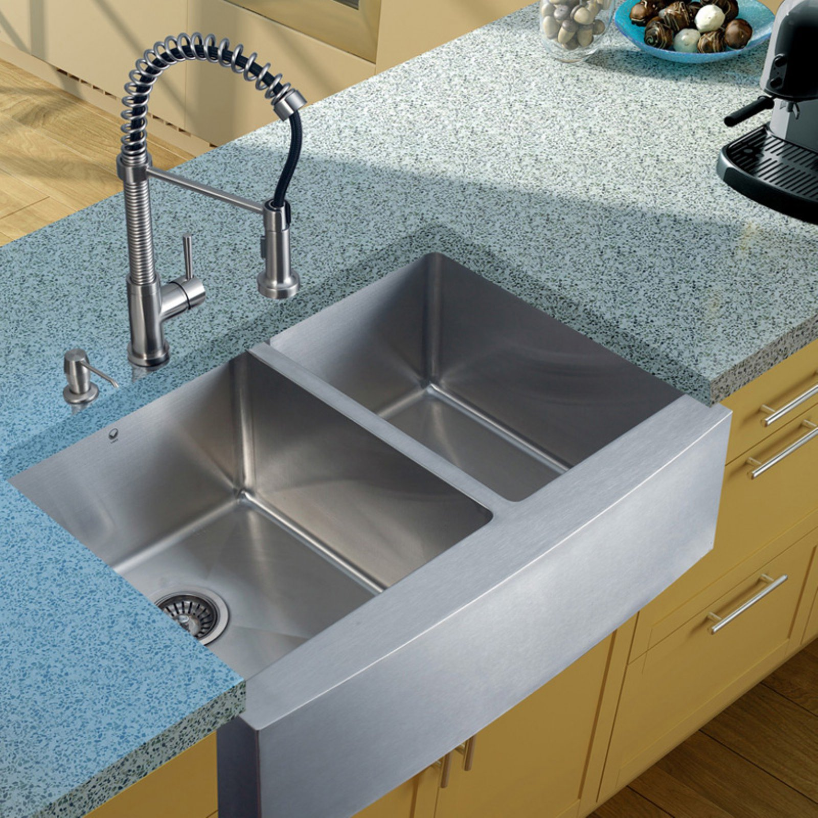 Vigo Farmhouse Stainless Steel Kitchen Sink, Faucet, 2 Strainers and Dispenser