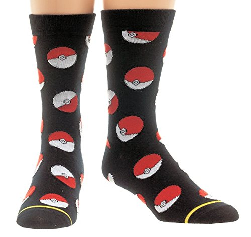Pokemon Pokeball Mens Crew Socks (10-13)