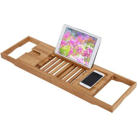 Bathtub Caddy Bamboo Bathtub Tray With Extending Sides, Reading Rack ...