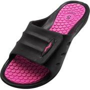 Norty Womens Summer Comfort Casual Slide Flat Strap Shower Sandals Slip On Shoes, 40330 Black-Fuchsia / 5B(M)US