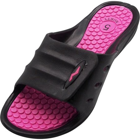 Norty Womens Summer Comfort Casual Slide Flat Strap Shower Sandals Slip On Shoes, 40330 Black-Fuchsia / 5B(M)US ()