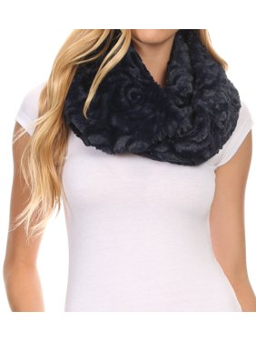 Sakkas Mellah Long Wide Soft Fuzzy Furry Fur Infinity Fall Winter Wrap Scarf - Navy - OS
