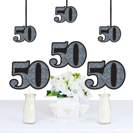 Adult 50th Birthday - Silver - Decorations DIY Party Essentials - Set of 20