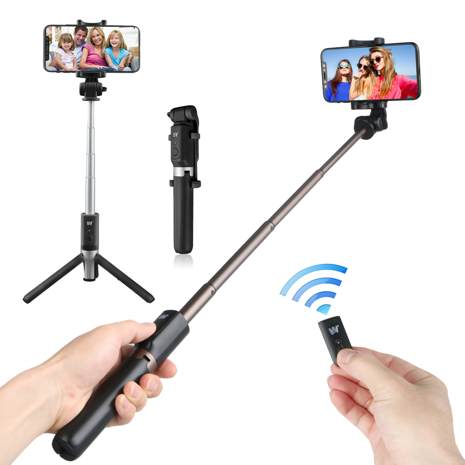 Portable Professional Camera Tripod, 360 Degree Camera Monopod Bluetooth Selfie Stick Tripod Adjustable Up to 28 inch with Remote Control for Cell Phone Digital Camera