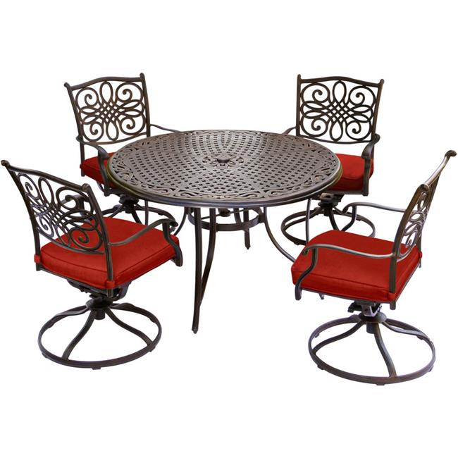48 in. Traditions Dining Set with Four Swivel Rockers & a Cast-Top Table, Red - 5 Piece