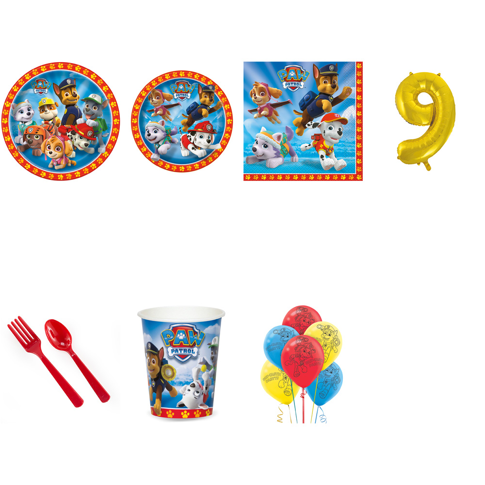 PAW PATROL PARTY SUPPLIES PARTY PACK FOR 32 WITH GOLD #9 BALLOON