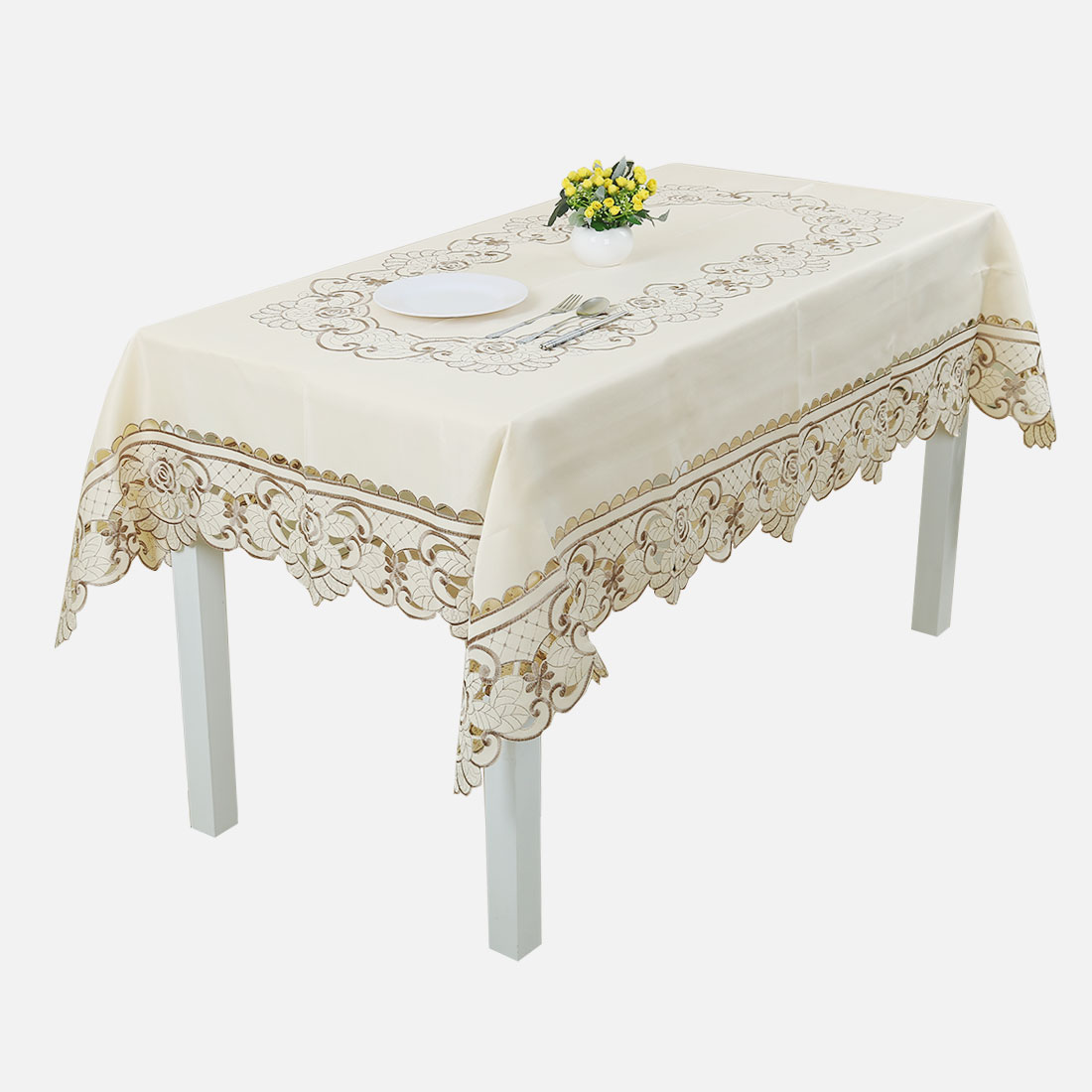 Light Beige Rose Flower Embroidered Lace Table Cover Tablecloth 175cm X  320cm