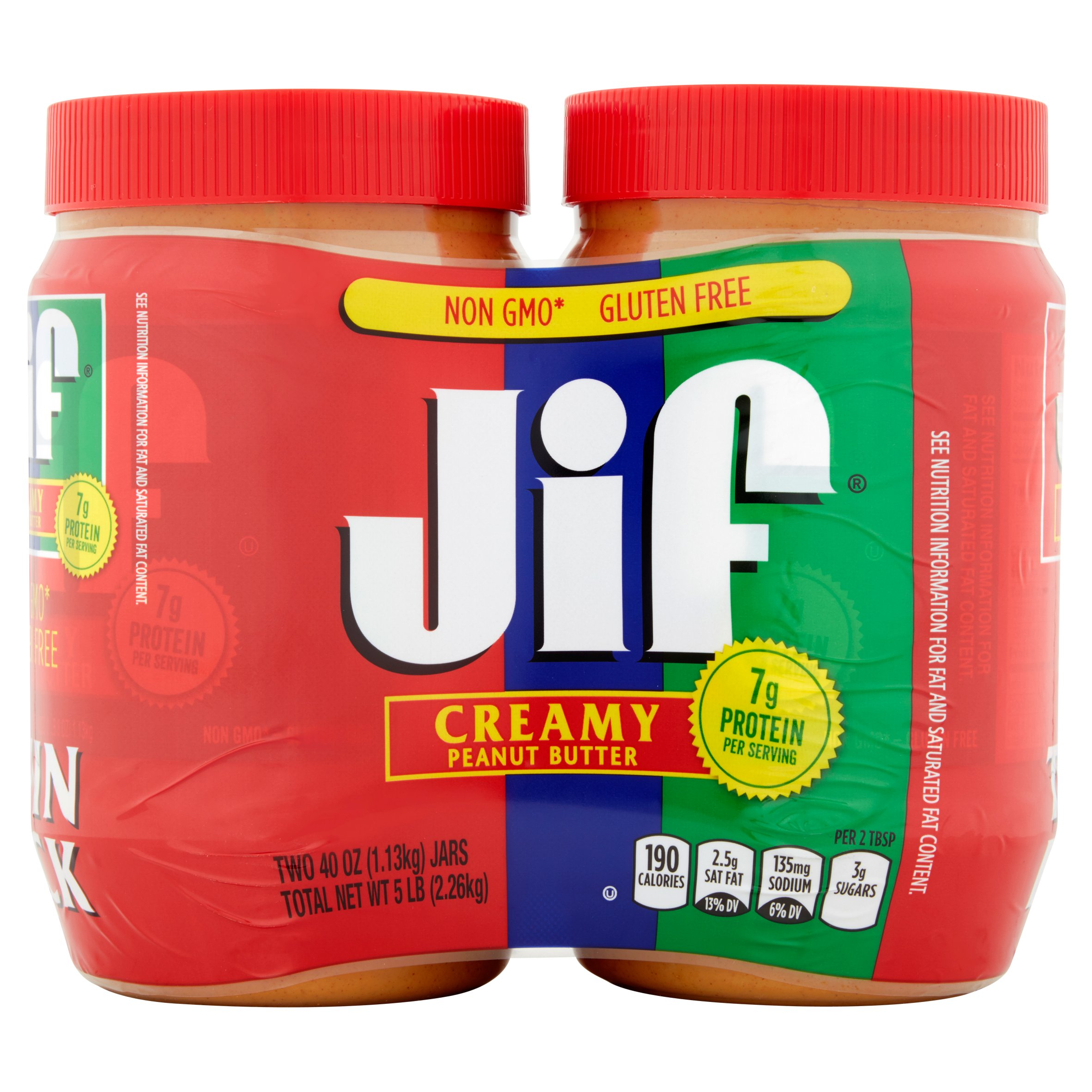 Jif Twin Pack, Creamy Peanut Butter, 40 oz