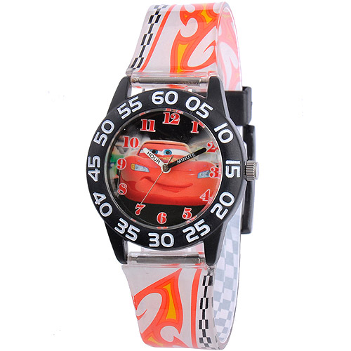 Disney Cars Boys' Plastic Case Watch, Printed Plastic Strap