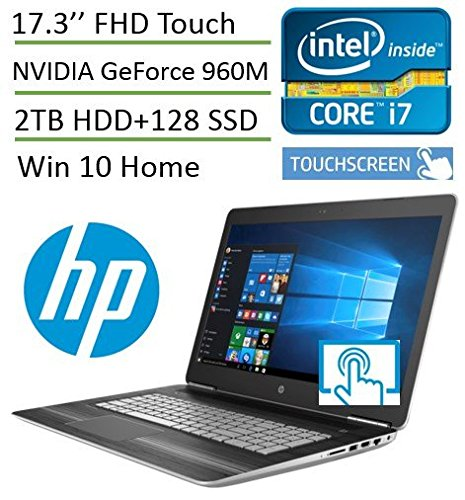 HP Pavilion 17t Touch 17.3'' Premium Gaming Laptop V3A33AV( i7, 17.3 inch Full HD 1920x1080 Touch, 16GB, 2TB HDD + 128GB SSD, Win10) with SmartFriend Support (1-Month)
