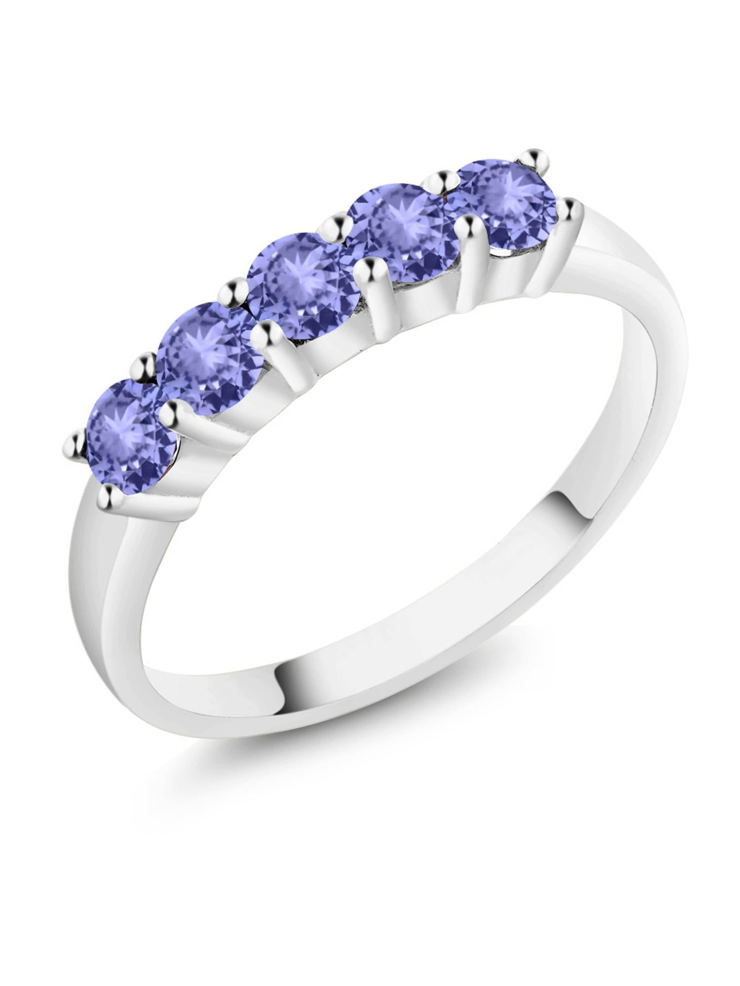 0.90 Ct Round Blue Tanzanite 18k White Gold Ring by