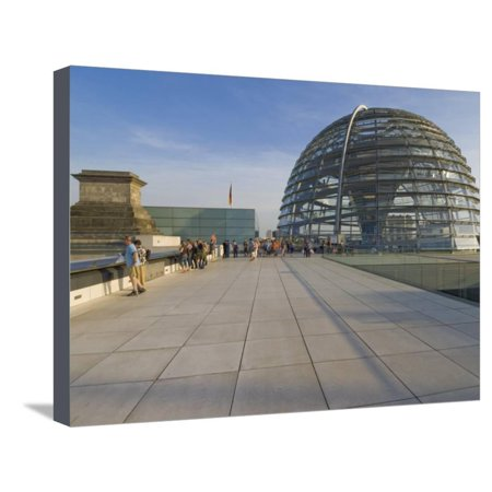 Tourists on the Roof Terrace of the Famous Reichstag Parliament Building, Berlin, Germany Stretched Canvas Print Wall Art By Neale Clarke ()