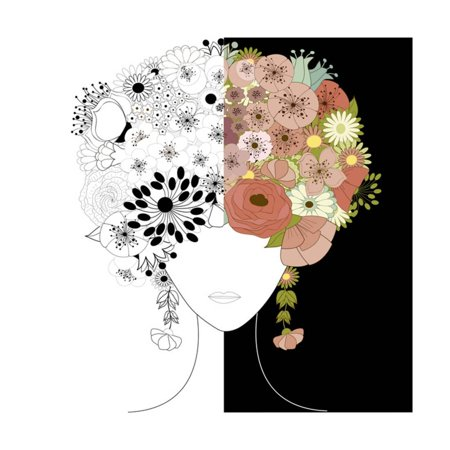 Woman Floral Silhouette Print Wall Art By Rouz