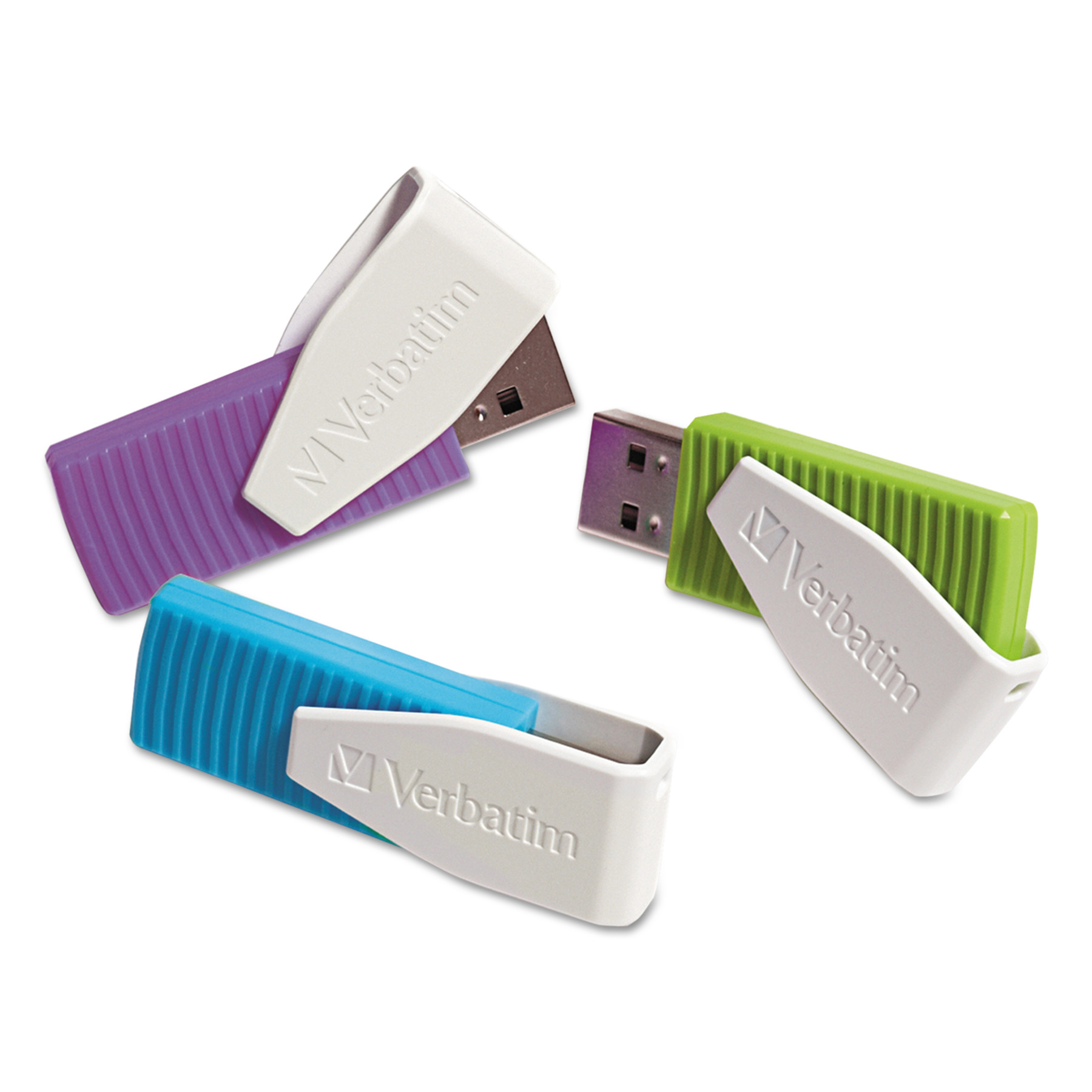 Verbatim Store 'n' Go Swivel USB 2.0 Flash Drive, 8GB, Blue/Green/Violet, 3/Pack -VER98426