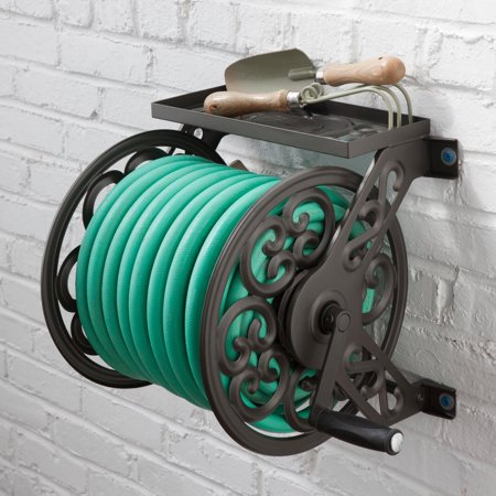 Liberty Decorative Wall-Mounted Hose Reel (Best Wall Mounted Garden Hose Reel)