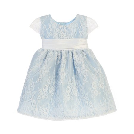 Sweet Kids Baby Girls Blue French Lace Dupioni Flower Girl - Toddler Belle Dress