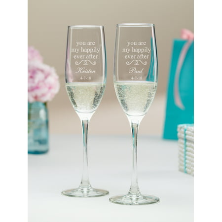 Personalized You Are My Happily Ever After Champagne Flutes (Champange Flute)