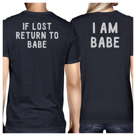 If Lost Return To Babe Navy Matching T-Shirts Funny Couples Gifts
