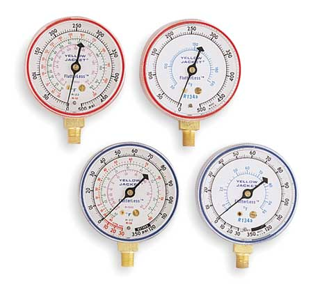 Gauge,2-1/2 In Dia,High Side,Red,500 psi YELLOW JACKET 49001