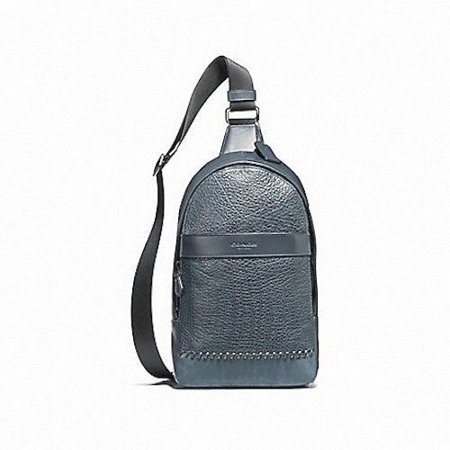 NEW MENS COACH (F11236) CHARLES LEATHER BASEBALL SEAM PACK DENIM BAG  BACKPACK 05e3ec335