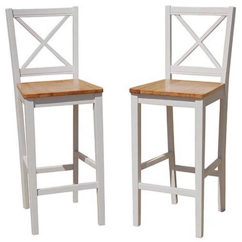 TMS Virginia Cross-Back 30u0022 Bar Stool, Set of 2, Multiple Colors