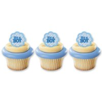 24 Its A Boy Baby Shower Gender Reveal Cupcake Cake Rings Party Favors Toppers