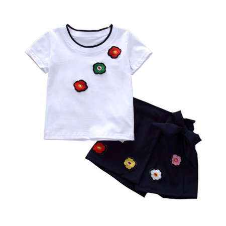 4ef37879c Esho - Summer Baby Girls Casual Floral T-shirt Tops+Skirt Shorts Clothes  2Pcs/Set - Walmart.com