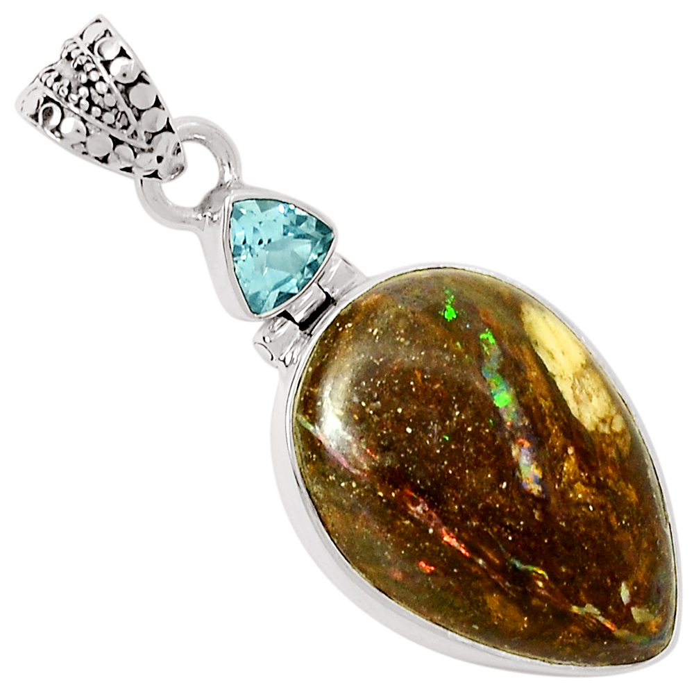 XTREMEGEMS Boulder Chrysoprase 925 Sterling Silver Pendant Jewelry 8515P by