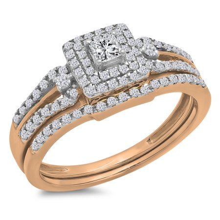 - 0.50 Carat (ctw) 14k Gold Round & Princess Diamond Ladies Bridal Engagement Ring Matching Band Set 1/2 CT