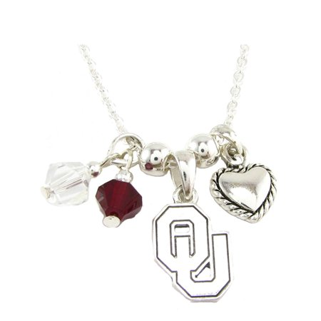 - Oklahoma Sooners Austrian Crystal Silver Chain Red Charm Necklace Jewelry OU.