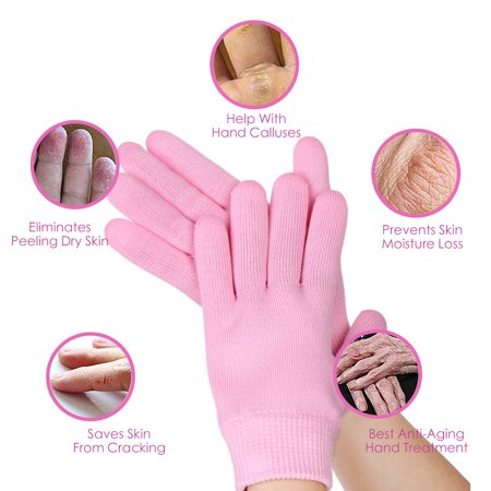 Pair Pink Knitted Soften Exfoliating Moisturising Hand Care Spa Gel Gloves - image 2 of 8