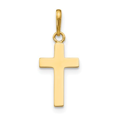 14k Yellow Gold Childrens Cross Religious Pendant Charm Necklace Kid Gifts For Women For Her