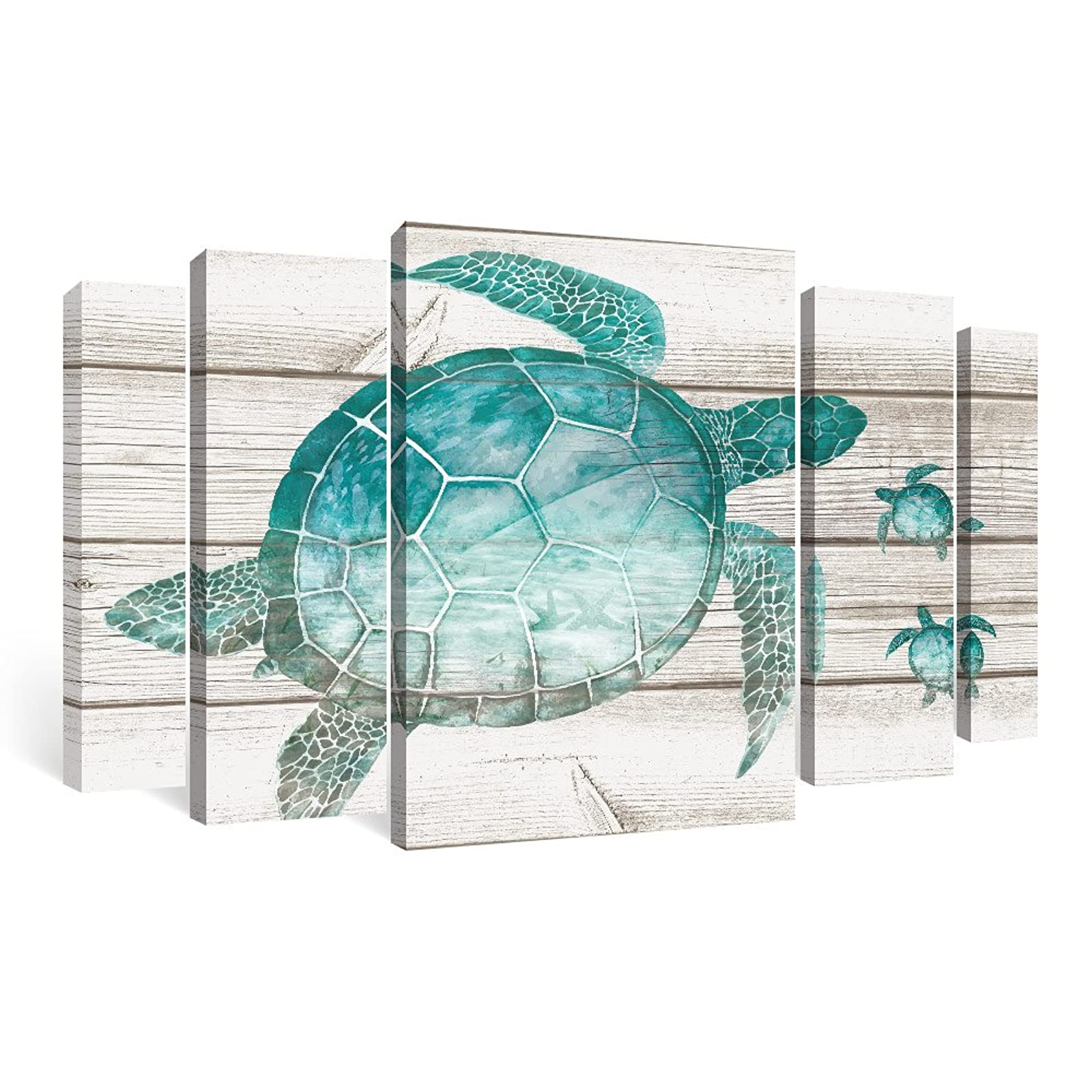 Sumgar Framed Wall Art Living Room Beach Pictures Teal Bathroom Decor Ocean Large Paintings Sea Turtle 5 Piece Walmart Com Walmart Com